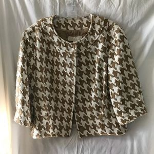 Michael Kors Cropped Houndstooth Jacket